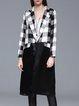 Long Sleeve Paneled H-line Checkered Silk Linen Coat
