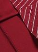 Wine Red Zipper Elegant Paneled Stripes A-line Midi Dress