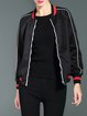 Black Color-block Long Sleeve Bomber Jacket