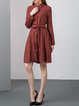 Burgundy Solid Silk-blend Simple Pockets Shirt Dress with Belt