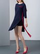 Navy Blue 3/4 Sleeve Cashmere Slit Midi Dress
