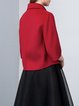 Red 3/4 Sleeve Lapel Double-faced Wool Solid Cropped Jacket