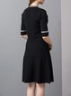 Black Knitted Half Sleeve Sweater Dress