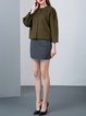 Olive Green 3/4 Sleeve Wool Paneled Cropped Jacket