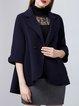 Black 3/4 Sleeve Buttoned Lapel Elegant Wool Cropped Jacket