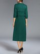 Green Elegant Stand Collar Polyester Midi Dress