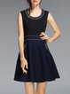 Black Zipper Crew Neck Girly Paneled Sleeveless Mini Dress