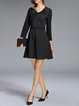 Black Bow Checkered A-line Long Sleeve Elegant Mini Dress