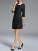 Black Stripes 3/4 Sleeve Crew Neck H-line Mini Dress