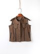 Coffee Vintage Ripped Buttoned Crew Neck Vest
