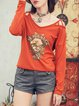 Orange Cute Tribal Cutout Long Sleeved Top