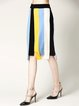 Multicolor H-line Wool Blend Statement Slit Midi Skirt