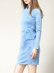 Blue H-line Vintage Long Sleeve Wool Blend Sweater Dress