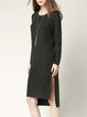 Dark Green Long Sleeve Slit Knitted Sweater Dress