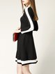 Black Simple Color-block Sweater Dress