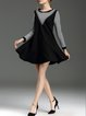 Black Sweet Flounce Paneled Long Sleeve Mini Dress