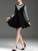 Black Sweet Flounce Paneled Long Sleeve Mini Dress