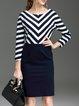 H-line Elegant Paneled Raglan Sleeve Stripes Midi Dress