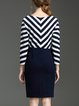 H-line Elegant Paneled Raglan Sleeve Stripes Midi Dress
