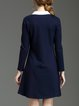 Navy Blue Tie Color-block Long Sleeve A-line Mini Dress