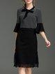 Black Paneled 3/4 Sleeve Stripes H-line Midi Dress