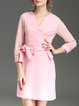 Pink 3/4 Sleeve Cotton-blend V Neck Mini Dress with Belt