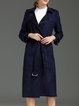 Navy Blue H-line Elegant Suede Coat with Belt