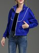 Blue Raglan Sleeve Zipper Stand Collar Bomber Jacket