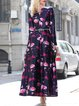Polyester V Neck Long Sleeve Vintage Printed Maxi Dress
