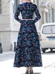 Blue Long Sleeve Polyester A-line Maxi Dress