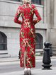 Red Long Sleeve Floral Print Maxi Dress