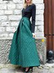 Green Long Sleeve Crew Neck Paneled Jacquard Maxi Dress