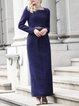 Elegant Long Sleeve A-line Slit Pockets Plain Maxi Dress