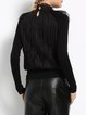 Black Beaded Pleated Mesh Stand Collar Long Sleeved Top