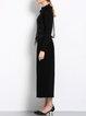 Black Sequins Paneled Plain Long Sleeved Top