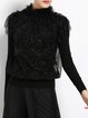 Black Sequins Plain Paneled Stand Collar Long Sleeved Top