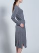Gray Long Sleeve Shift Crew Neck Pockets Sweater Dress