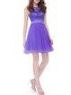 Purple Crew Neck Girly Chiffon Floral Mini Dress