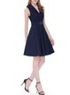 Dark Blue Rayon Solid A-line Elegant Midi Dress with Belt