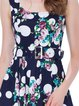 Navy Blue Girly Floral-print Polka Dots Midi Dress with Belt
