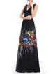 Black Chiffon Plunging Neck Floral-print Evening Dress