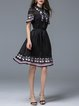 Black Short Sleeve Girly Two Piece Stand Collar Midi Dress