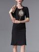 Black Beaded Embroidered Short Sleeve Girly Mermaid Midi Dress