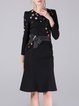 Black Mermaid Beaded Long Sleeve Elegant Midi Dress