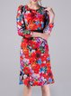 Multicolor Floral-print Elegant Mermaid Midi Dress with Belt
