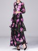 Purple Long Sleeve Tiered Tulips Printed Evening Dress