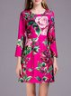 Rose Printed Crew Neck Vintage Polyester Mini Dress