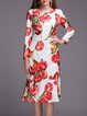 Multicolor Flounce Long Sleeve Tulips Printed Midi Dress