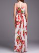 Tulips Printed Sleeveless Swing Evening Dress with Scarf