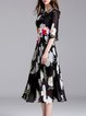 Black Floral Appliqued Beaded Pleated Half Sleeve Midi Dress